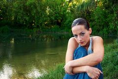 1个妇女年轻人 库存照片