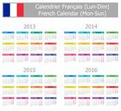 1 2013 2016个日历法国星期一星期日类型 免版税库存图片