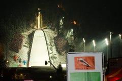 1 22 2011托起跳的波兰滑雪世界zakopane 免版税库存照片