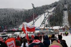 1 22 2011托起跳的波兰滑雪世界zakopane 免版税库存图片