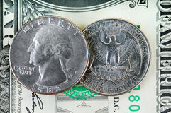 1 25钞票分美元 免版税库存照片