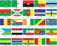 1 25 afrikanska flaggor Arkivfoton