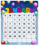 1 календар январь ежемесячный Стоковое Изображение