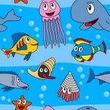 无缝动画片的海生动物[1] 免版税图库摄影