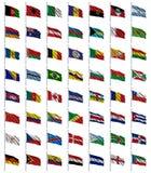 1 4 флага установило мир Стоковые Изображения RF