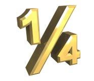 1/4 di un quarto in oro - 3D illustrazione di stock