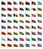 (1) 4 flaga ustawiający świat Obrazy Royalty Free