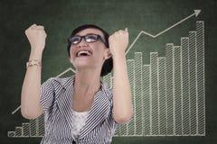 庆祝她的成就1的女实业家 免版税库存图片