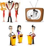 电视知识竞赛电视主人行动设置了1 图库摄影