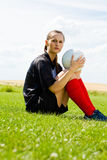 Девушка 1 футбола Стоковые Изображения RF