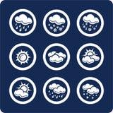1 7个图标分开集合天气 免版税库存照片