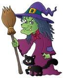 Ведьма с изображением 1 темы кота и веника Стоковое Изображение