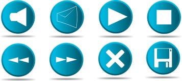 1 8蓝色图标集合万维网 免版税库存照片
