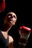 1名拳击手妇女 免版税库存照片
