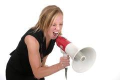 1 aggressiva attraktiva blonda affärskvinna Royaltyfri Fotografi