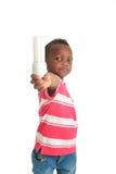 (1) amerykanin afrykańskiego pochodzenia czarny żarówki dziecko odizolowywający Obraz Royalty Free