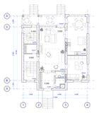 1 arkitektoniska golvhusplan Arkivbilder