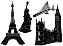 1 arkitektur som bygger den stads- vektorn stock illustrationer