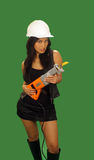 1 asiatiska härliga konstruktionskvinnligarbetare Arkivbilder