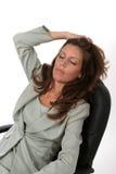 1 avslappnande kvinna för affär Arkivfoto