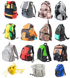 1 bagpack isolerade set Arkivbilder