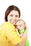 1 behandla som ett barn månadkvinnan Arkivfoto