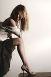 1 benkvinna Arkivfoto