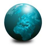 1 blåa jordklotvärld Arkivbild