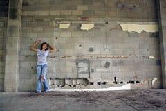(1) blokowej brunetki seksowna ściana Obrazy Royalty Free