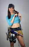 (1) brunetki kobiecy rzeczy toolbelt Obrazy Stock