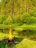 1 campfire Arkivfoton