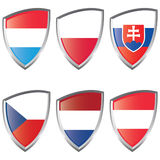 1 Central Europe flaggasköld Royaltyfri Bild