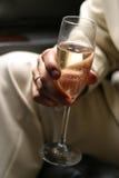 1 champagneexponeringsglas Arkivfoto