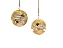 1 christmas gold mesh ornament Στοκ Φωτογραφία