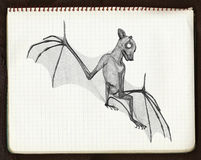 1 croquis de 'bat' 3d illustration libre de droits