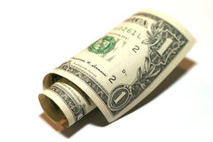 1 dollar. Rolled 1 dollar bill stock images