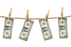 1 Dollar Bills Hanging From a Rope Royalty Free Stock Image