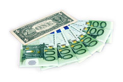1 dollar and hundreds euro Royalty Free Stock Image