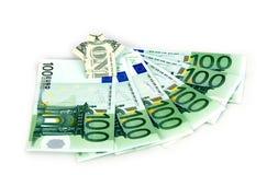1 dollar like tshirt and hundreds euro. 1 dollar like T shirt over some hundreds euro royalty free stock photos