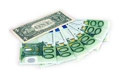 1 Dollar und Hunderte Euro Lizenzfreies Stockbild