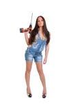 1 drillholdingkvinna Royaltyfri Fotografi