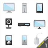 1 elektroniska symbolsvektor Royaltyfria Bilder