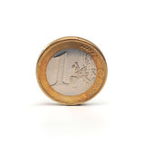 1 euro. Coin face value 1 euro which is located on a white background Stock Photography