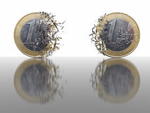 1 Euro Breaking - abstract background. 3D render of 1 Euro Breaking apart Royalty Free Stock Photo