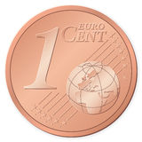 1 euro cent. Isolated on a white background. Vector illustration Stock Images