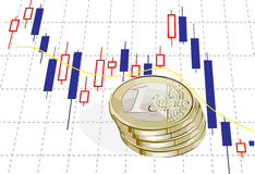 1 euro and chart. Vector illustration. financial concept with 1 euro coins and chart. filled with solid colors only, chart and shadow are in separate layers vector illustration
