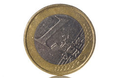 1 euro coin. Isolated on white background Royalty Free Stock Image