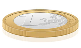 1 euro coin. One euro coin isolated on a white background. Vector illustration Stock Photography