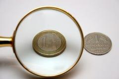 1 euro- e 1 marco alemão Imagem de Stock Royalty Free