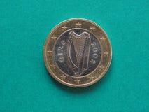 1 euromynt från Irland Royaltyfria Foton